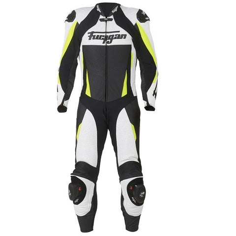 Furygan Full Apex 1 Piece Leather Race Track Motorcycle Suit-White/Yellow - Furygan -  - MSG BIKE GEAR - 1