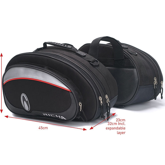 Richa Luggage - Designer Twin Bags Motorcycle Panniers Bag    8TWB100 - Richa -  - MSG BIKE GEAR - 1