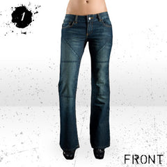 HORNEE SA-W3 LADIES BOOTCUT HIPSTER MOTORCYCLE JEANS DARK BLUE - Hornee -  - MSG BIKE GEAR - 1