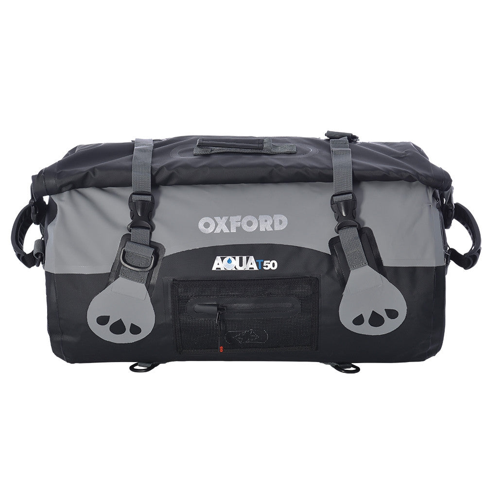Oxford AQUA T50 Waterproof Motorcycle Roll Bag - 50 Litres - BLACK/GREY - Oxford -  - MSG BIKE GEAR