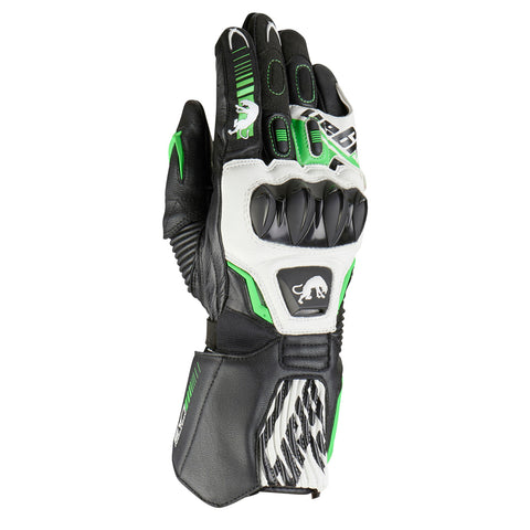 Furygan FIT-R Leather Racing Sports Gloves - Black/White/Green