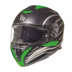 MT Targo Doppler Full Face Helmets - Matt Black/Green