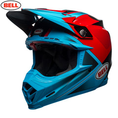 Bell MX 2018 Moto-9 Carbon Flex Helmet - Hound Cyan / Red