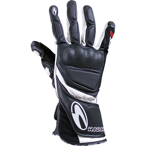 Richa WSS Leather Sports Summer Racing Motorcycle Gloves Black/white - Richa -  - MSG BIKE GEAR