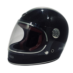 F656-C Carbon Vintage Full Face Helmet - Black Carbon