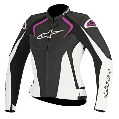 Alpinestars Stella Jaws Ladies Leather Motorcycle Jacket - Black/White/Pink - Alpinestars -  - MSG BIKE GEAR - 1