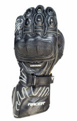 Racer High Speed Sports Racing Leather Motorbike Motorcycle Gloves - Black - Racer -  - MSG BIKE GEAR - 1