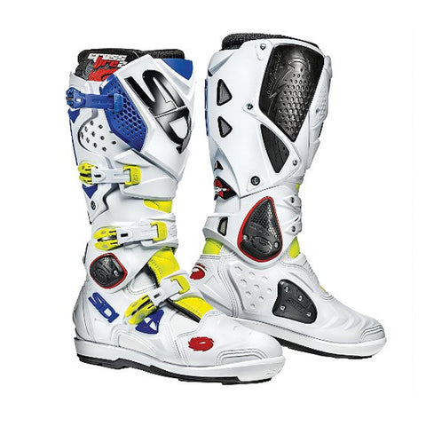 SIDI CROSSFIRE 2 SRS MOTOCROSS MOTORCYCLE BOOTS - YELLOW FLUOWHITEBLUE - SIDI -  - MSG BIKE GEAR