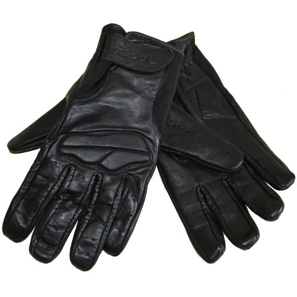 RACER FIELD SHORT FULL LEATHER SUMMER MOTORCYCLE GLOVES BLACK - RACER -  - MSG BIKE GEAR