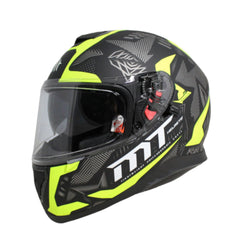 MT Thunder 3 SV Fractal Full Face Helmets - Matt Black/Grey/Fluo Yellow