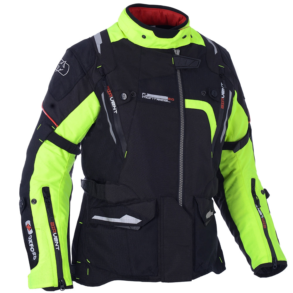 Oxford Montreal Ladies Waterproof Textile Jacket - Black/Fluo