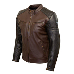 Merlin Chase Leather Jacket - Brown, Black