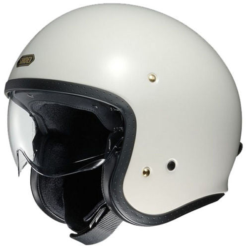 Shoei J.O Open Face Motorcycle Cruiser Scooter Helmet + Visor - Off White - Shoei -  - MSG BIKE GEAR