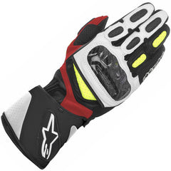 AlpineStars SP-2 Leather Sports Race Motorcycle Gloves Black White Fluo Red - Alpinestars -  - MSG BIKE GEAR - 1