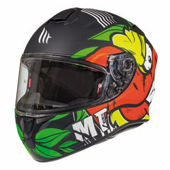 MT Targo Truck Helmet - Matt Black / Green / Flu Yellow
