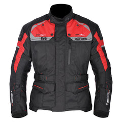 Oxford Brooklyn Men's Waterproof Motorcycle Textile Jacket - Black/Red - Oxford -  - MSG BIKE GEAR