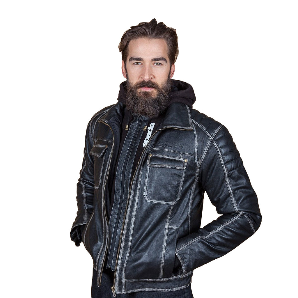 Spada Peacedog Motorcycle Motorbike Leather Waterproof Jacket - Black