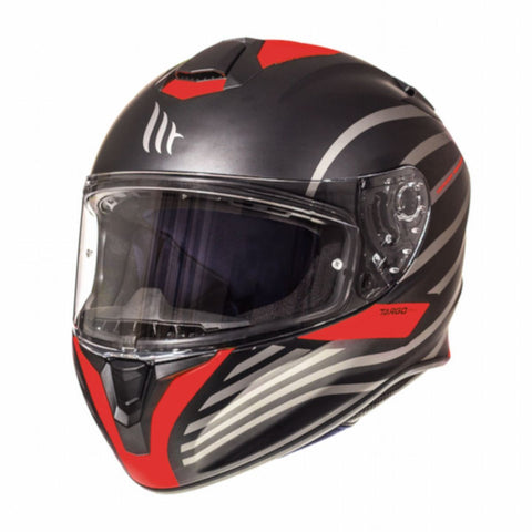 MT Targo Doppler Full Face Helmets - Matt Black/Red