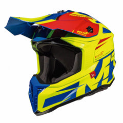 MT Falcon Weston Motocross Helmets - Blue/Fluo/Red
