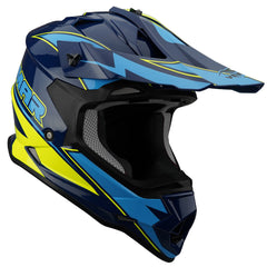 VEMAR TAKU EYE MX MOTOCROS ATV QUAD MOTORBIKE OFF ROAD HELMET - BLUE/YELLOW
