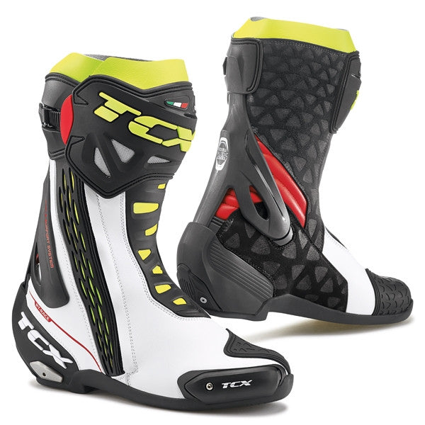 TCX RT-Race Race Track Sports Motorbike Motorcycle Boots - White/Red/Yellow - TCX -  - MSG BIKE GEAR - 1