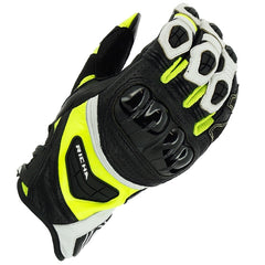 Richa Stealth CE Cerified Sports Motorcycle Leather Gloves Black/White/Yellow - Richa -  - MSG BIKE GEAR - 1