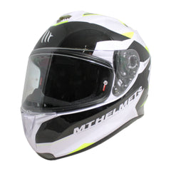 MT Targo Enjoy Full Face Helmets - Pearl White/Black/Fluo Yellow