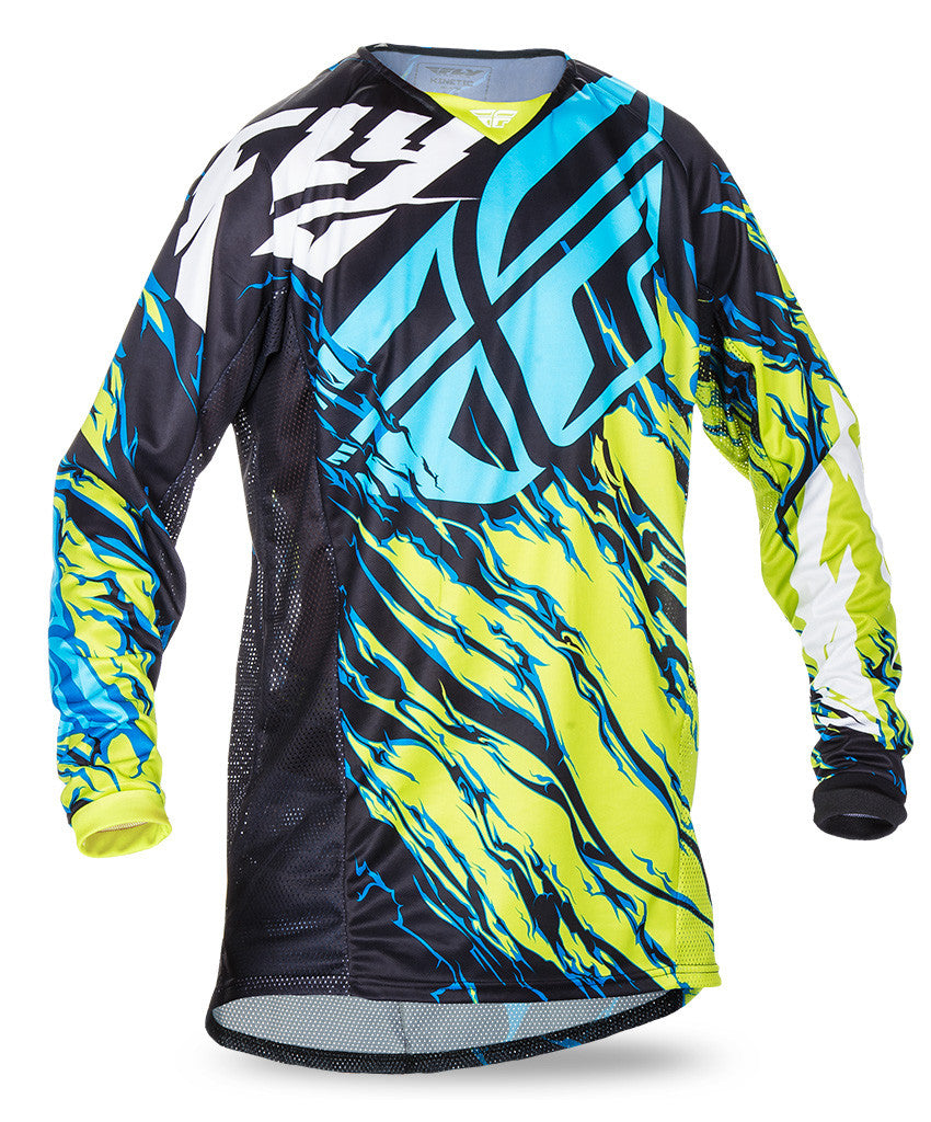 Fly 2017 Kinetic Relapse MX Motocross Youth Jersey Lime/Black/Blue - Fly Racing -  - MSG BIKE GEAR - 1
