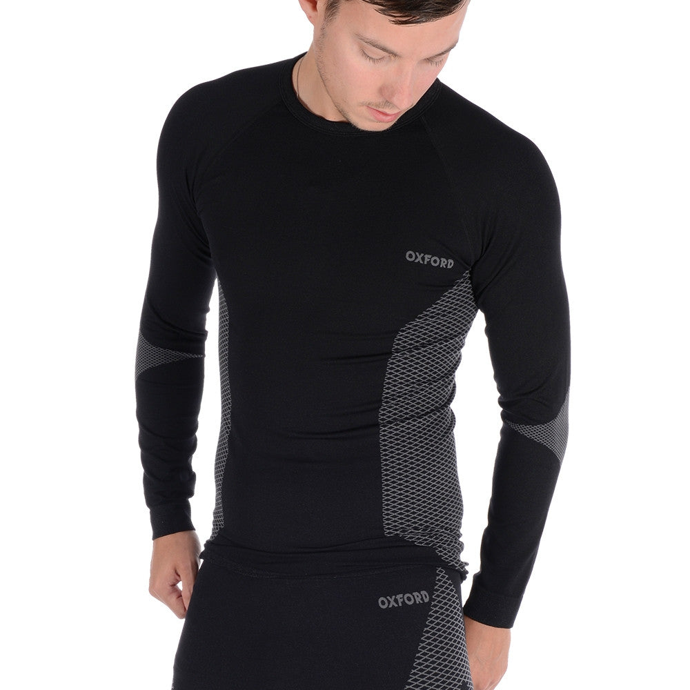Oxford Layers Base Layer Knitted Long Sleeved Thermal Motorcycle Top - Black - Oxford -  - MSG BIKE GEAR - 1