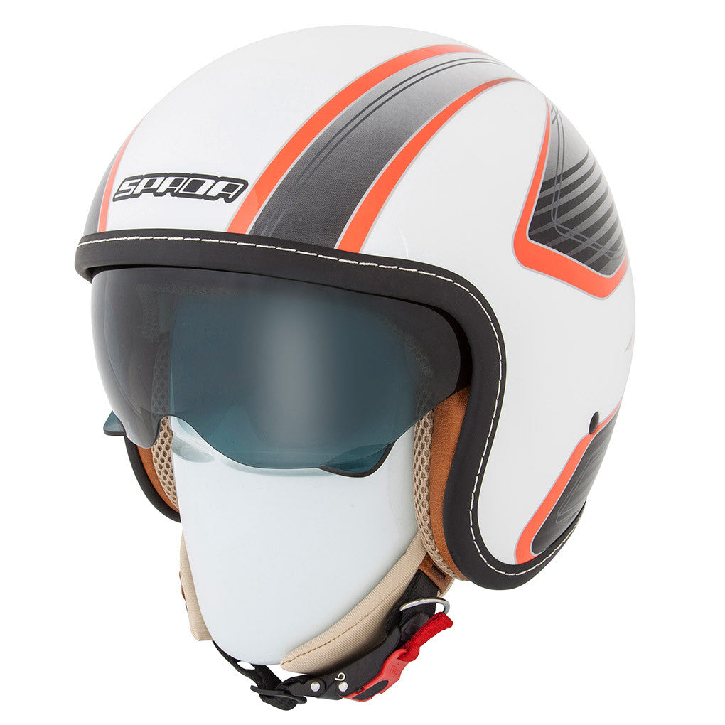 Spada Raze Open Face Helmet -Vecta White/Orange