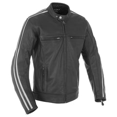 Oxford Bladon Leather Cafe Racer Jacket - Black
