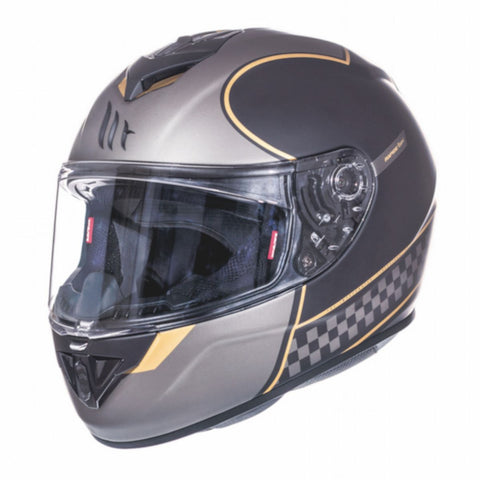 MT Rapide Revival Full Face Helmets - Matt Black/Gold