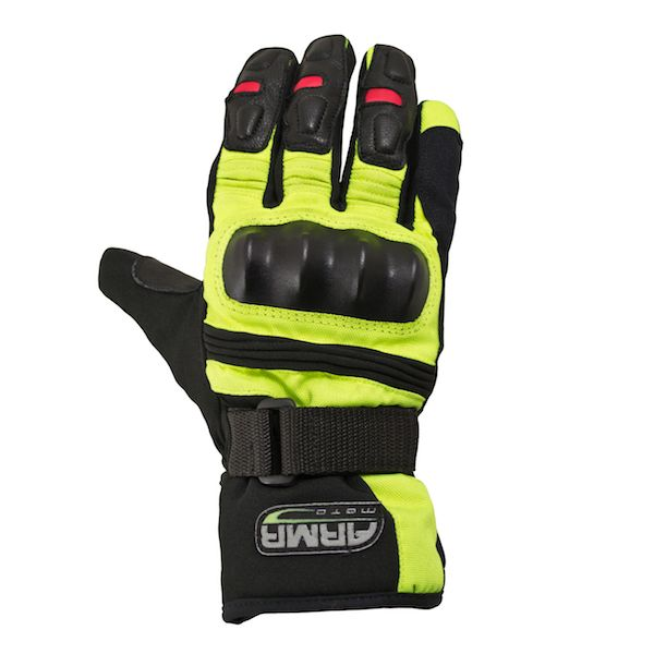 ARMR WP525 Textile Waterproof Motorcycle Gloves - Black / Fluo Yellow