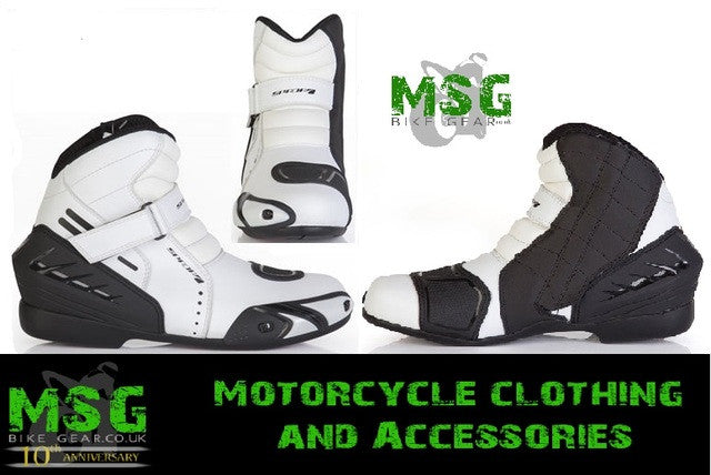 SPADA GEAR MOTORCYCLE SPORTS SHORT LEATHER BOOTS WHITE* - SALE OFFER - Spada -  - MSG BIKE GEAR - 1