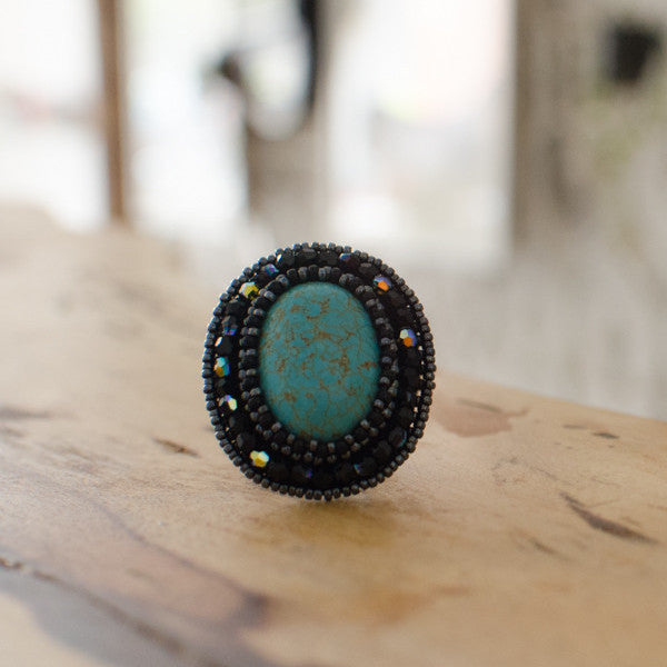 Faith Gemstone Ring: Blue Turquoise