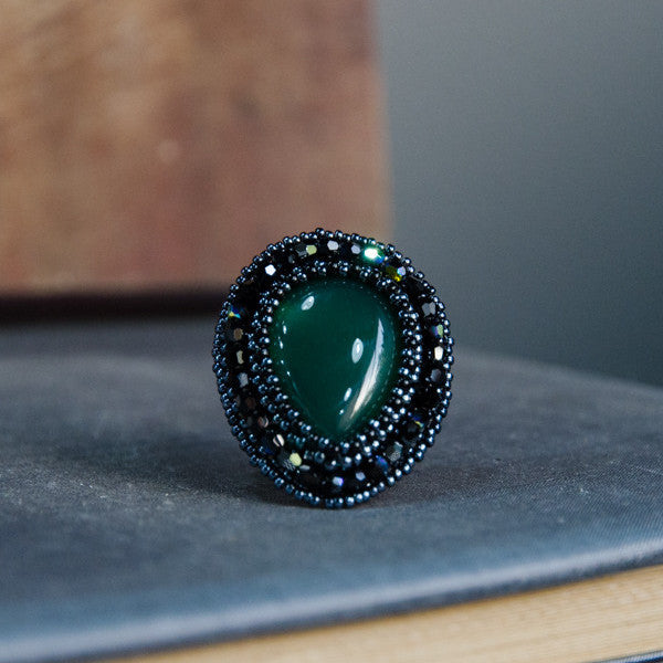 Faith Gemstone Ring: Green Agate
