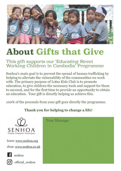 Senhoa Gifts that Give: A bicycle for a child so they can enrol in school
