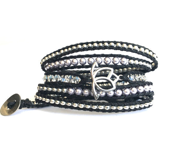 Luxe Pearl Wrap Bracelet: Lavender with Black Cord