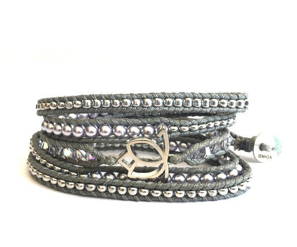 Luxe Pearl Wrap Bracelet: Lavender with Grey Cord