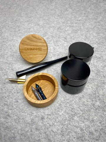 Calligraphy single ink pot holder in oak - clearance