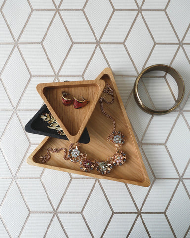 Wooden Oak Triangle Tray