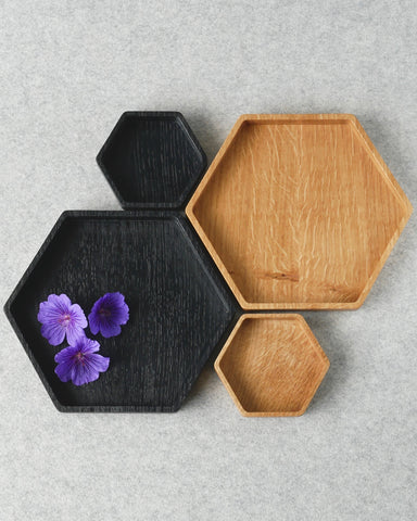 Wooden Oak Hexagon Tray - Clearance (Medium in Ebonised Finish)