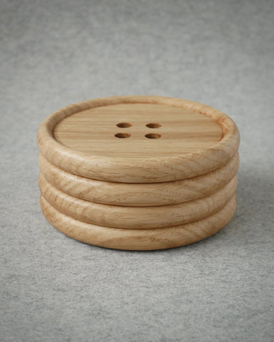 Wooden Oak Button Drink Coasters