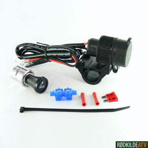 120.0375 - 12V/10A Socket for Power Supply - Cig type - Rødkilde ATV