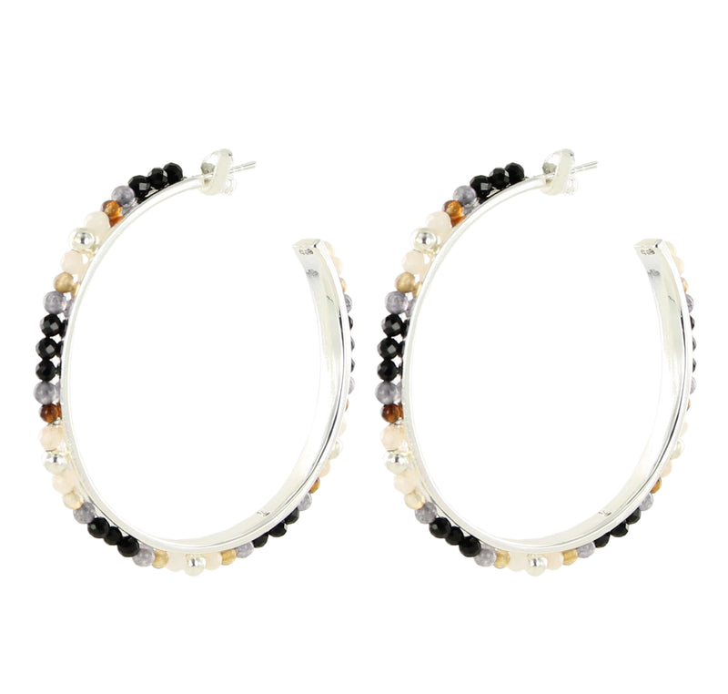 Gemstone Rainbow Hoops Silver