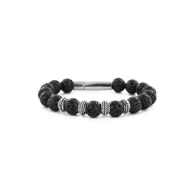 Male bracelet made from lava stones with silver beads.