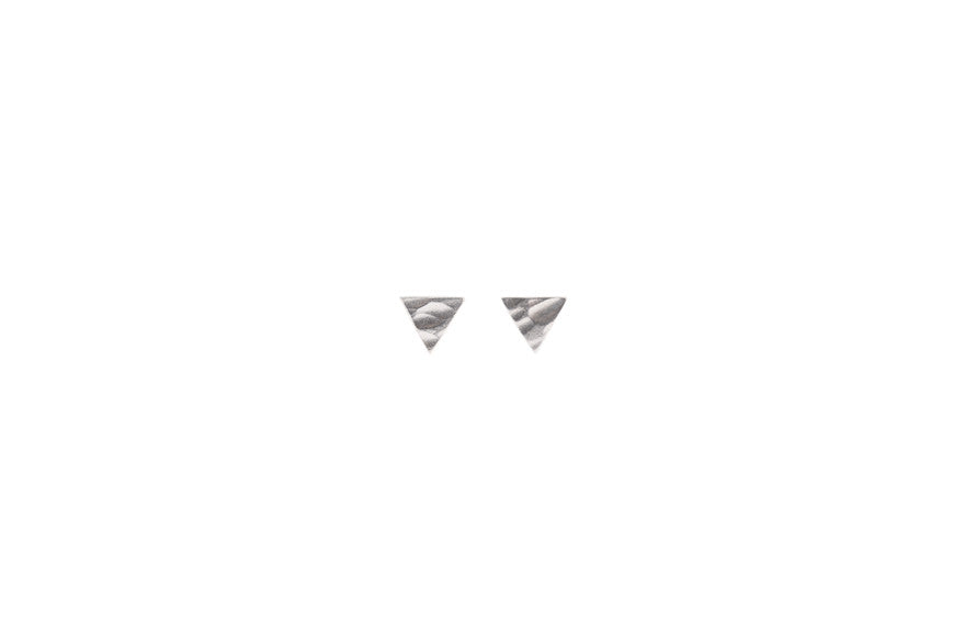 Micro Silver Triangle Earrings