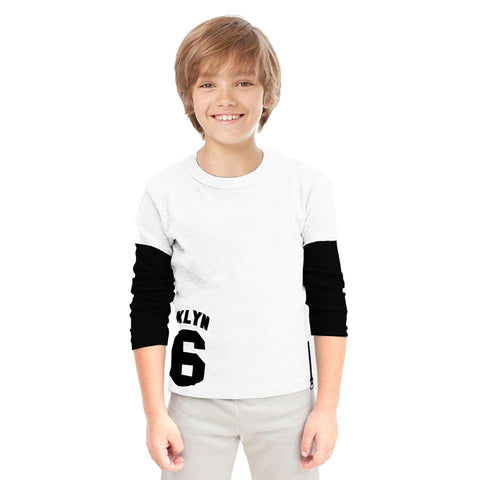 Next Cut Label Crew Neck Full Sleeve T Shirt For Kid-Off White-BE2123
