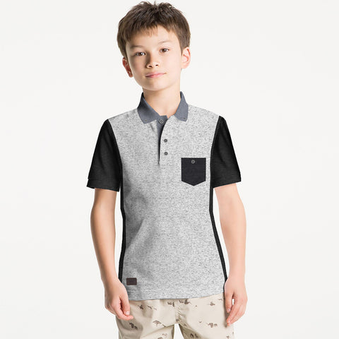 George Polo Shirt For Kid-Gray Melange & Charcoal-BE2249