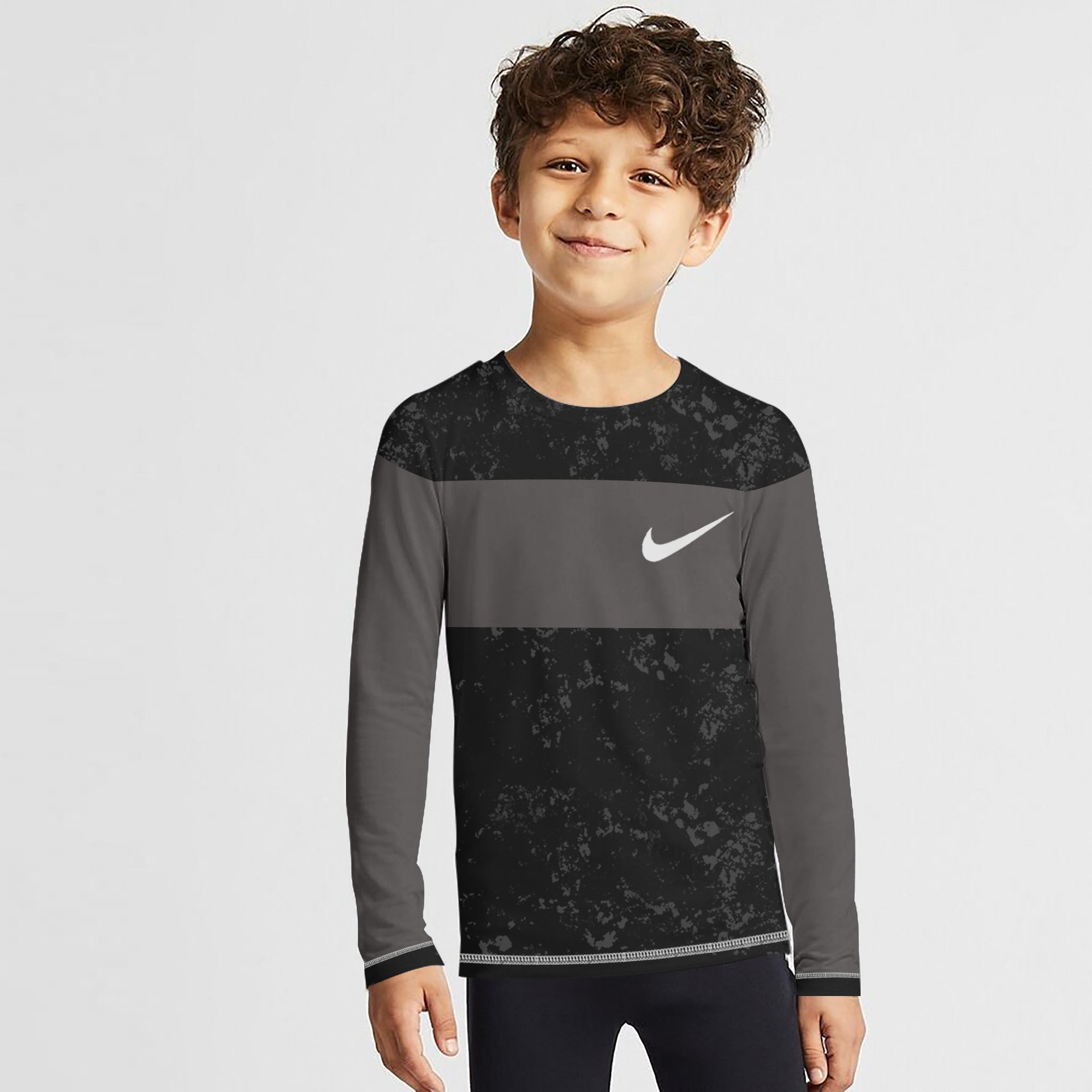 NK Crew Neck Single Jersey Long Sleeve Tee Shirt For Kids-Black Faded With Dark Grey Panel-SP3525